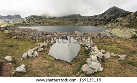Romanian mountain landscape with tents