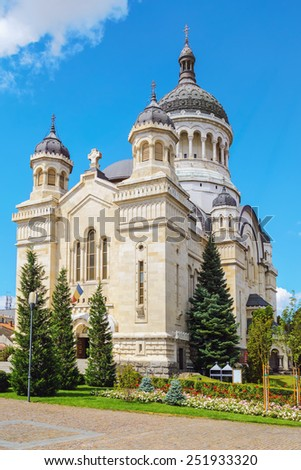 Romanian Orthodox Church - The Dormition Of The Theotokos Cathedral in Cluj-Napoca, Romania - stock photo