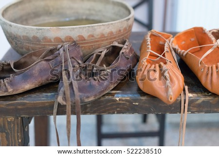 romanian peasant leather shoes
