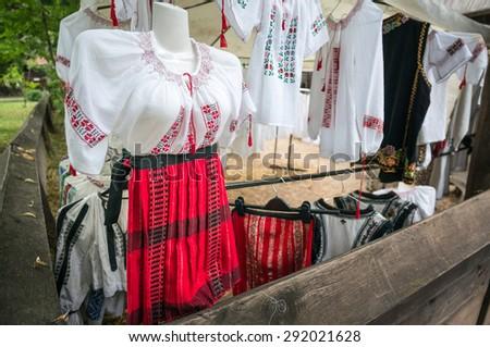 Romanian traditional  blouse - Close up shot, shallow DOF - stock photo
