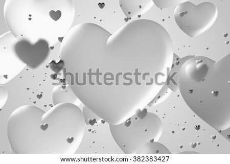 romantic background made of 3d rendered heart shape forms with depth of field and reflections