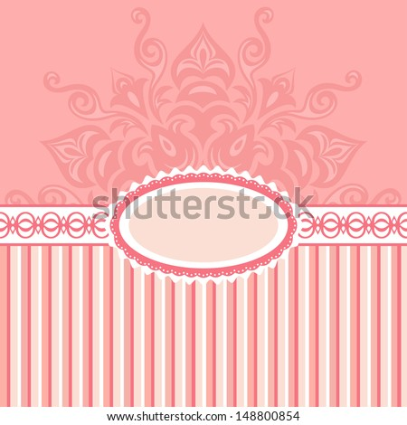 Romantic background with pattern and label .pink - stock photo