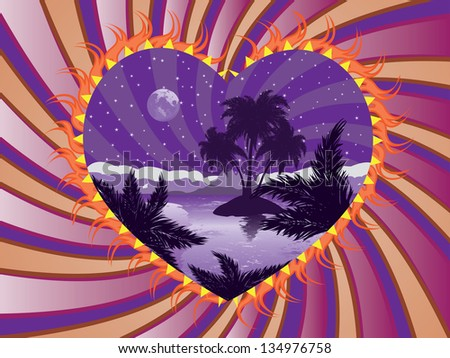 Romantic background with tropical island at night in a heart frame. - stock photo