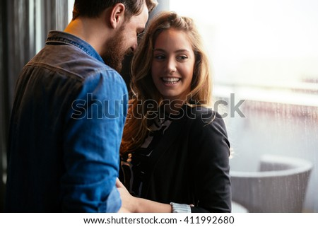 Romantic beautiful couple sharing genuine emotions and happiness - stock photo