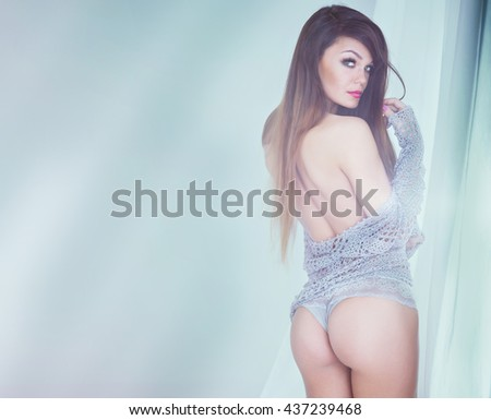 Romantic beautiful woman , sensual style,girl looking at camera. Sexy photo. - stock photo
