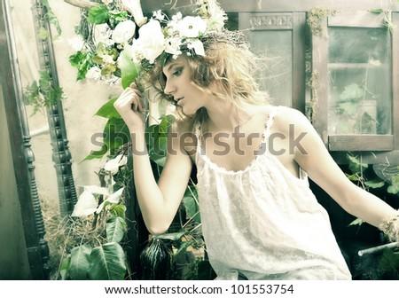 Romantic beauty girl in garden - stock photo