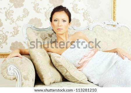 Romantic beauty portrait - young fashion model - stock photo