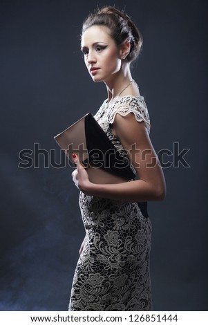 Romantic Beauty.Vintage Styled.Studio shot. - stock photo
