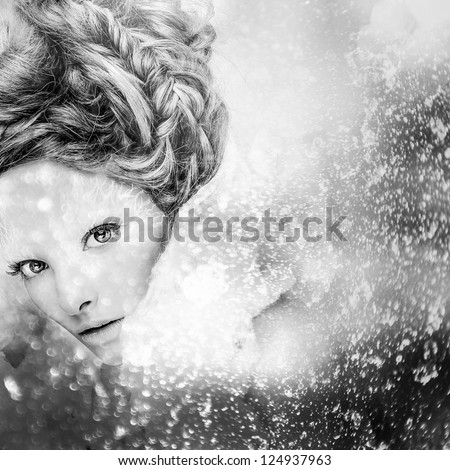 Romantic beauty with magnificent hair wandering in clouds. Digital painted black-white portrait of women face.