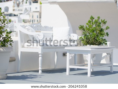 Romantic bench and table for lovers