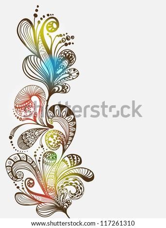 Romantic blue floral background, illustration for Valentine design - stock photo
