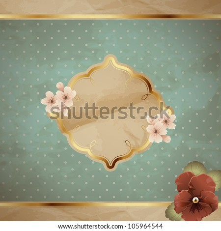 Romantic blue vintage banner with flowers (jpg); EPS10 version also available - stock photo