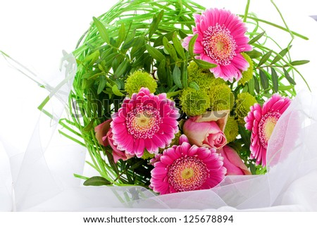 romantic bouquet of pink flowers for valentines day or mothers day - stock photo