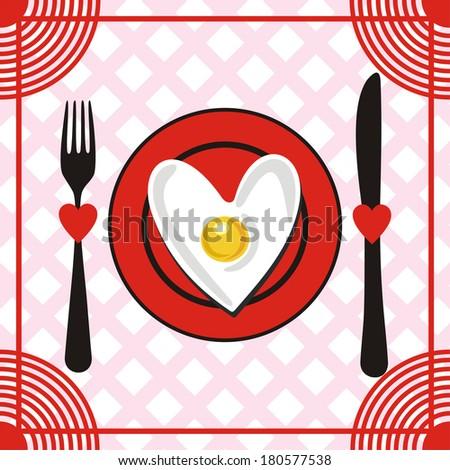 Romantic breakfast illustration - stock photo