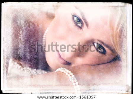 romantic bride lying on a bed with vintage finish