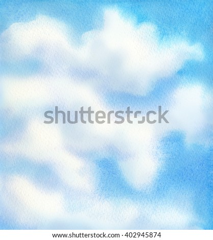 Romantic bright beautiful hand drawn colorful watercolour dye paint effect design fond on paper card with space for text. Light grey majestic fluffy cumulus glow on vivid cyan azure in creative style - stock photo