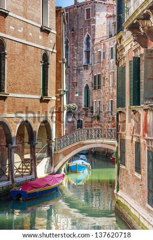 Romantic canal and bridge in center of Venice, Italy (no people)