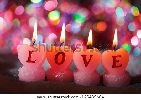 romantic candles - stock photo