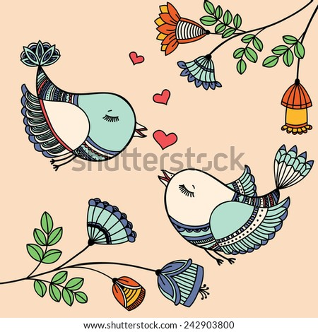 Romantic card with flying birds in love. - stock photo