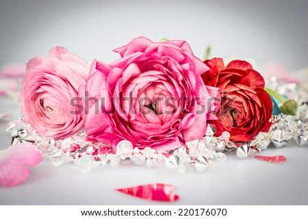 Romantic card with roses ,crystal garland and heart  - stock photo