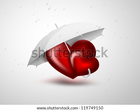 romantic card with two red heart under the umbrella - stock photo