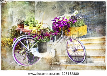 romantic cards - floral bike, artwork in painting style - stock photo