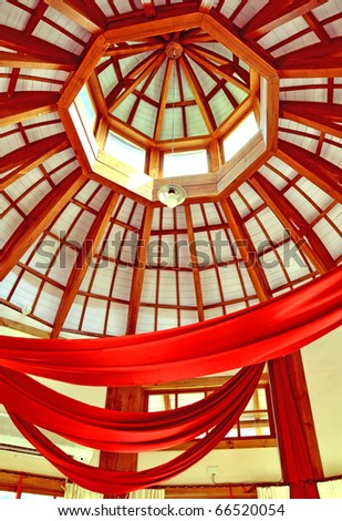 romantic ceiling with red curtains - stock photo