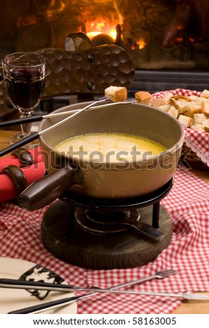 romantic cheese fondue - stock photo