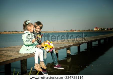 Romantic children couple - stock photo
