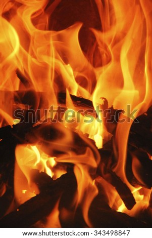 romantic chimney fire with burning logs