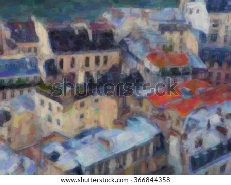 Romantic city view. Watercolor stylization
