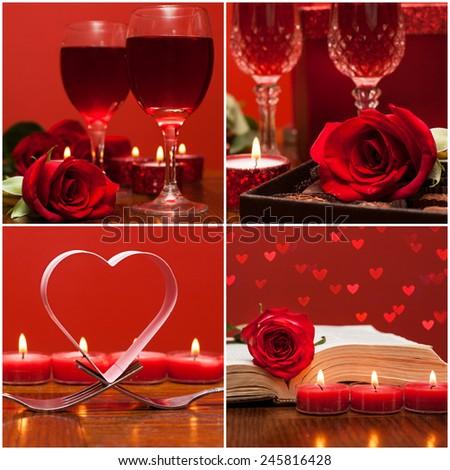 Romantic collage  for Valentines day. Love symbol - stock photo