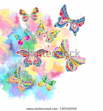 Romantic colorful background with butterfly, illustration with place for text