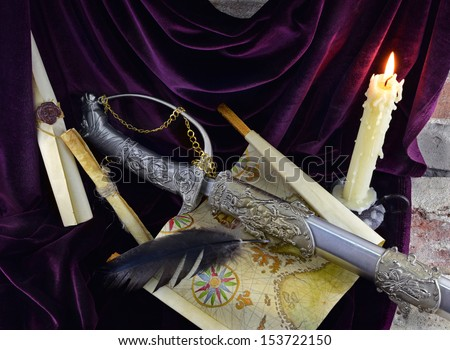 Romantic composition with sword - stock photo