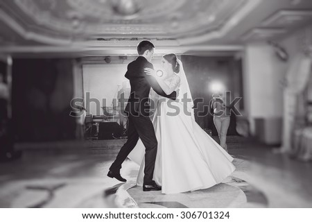 romantic couple dancing on their wedding - stock photo