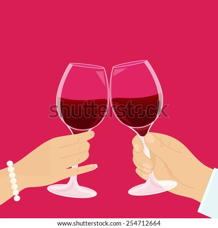 Romantic couple has a date and drinking red wine. - stock photo