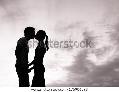 Romantic couple in love kissing. - stock photo