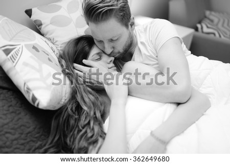 Romantic couple in love lying on bed and being passionate. Romantic Couple Love Lying On Bed Stock Photo 362649680   Shutterstock