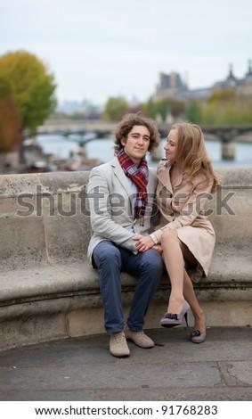 Romantic couple in Paris, having a date - stock photo