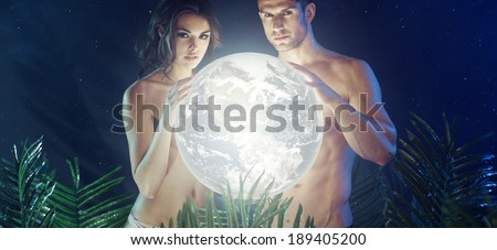 Romantic couple in the tropical jungle - stock photo