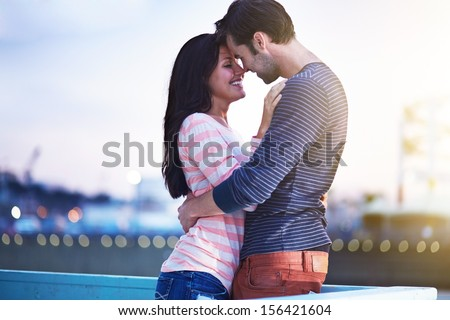 romantic couple near santa monica pier - stock photo