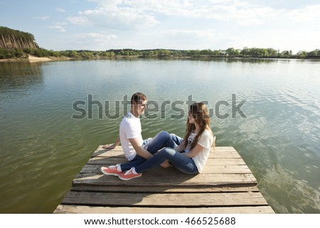 Romantic couple on the nature