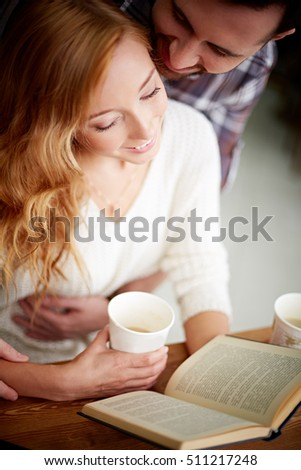 Romantic couple reading