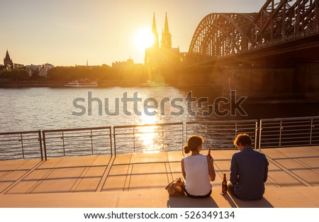 romantic couple spending their vacation in Cologne, Germany
