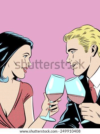 Romantic Couple Toasting - stock photo