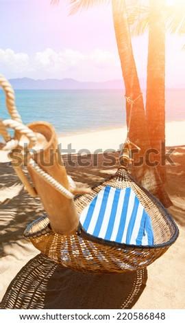 Romantic cozy hammock - stock photo