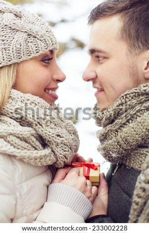 Romantic date of two lovers in winter - stock photo