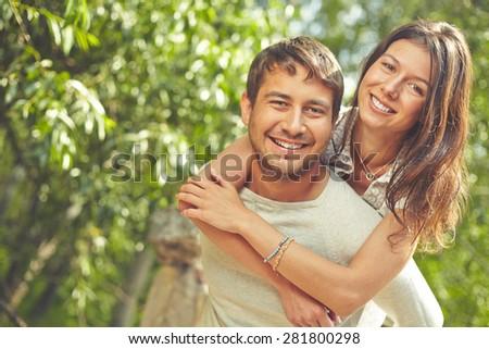 Romantic dates spending time outdoors - stock photo