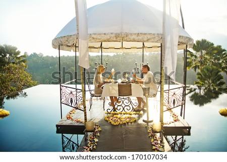 romantic dinner - stock photo