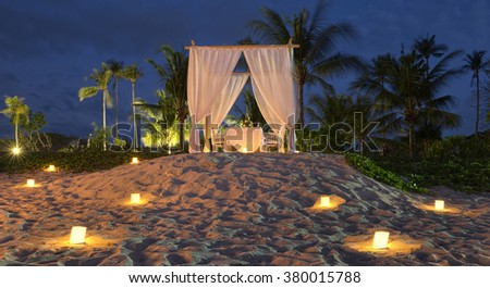 romantic dinner on the beach in Bali. Indonesia. Travelling - stock photo